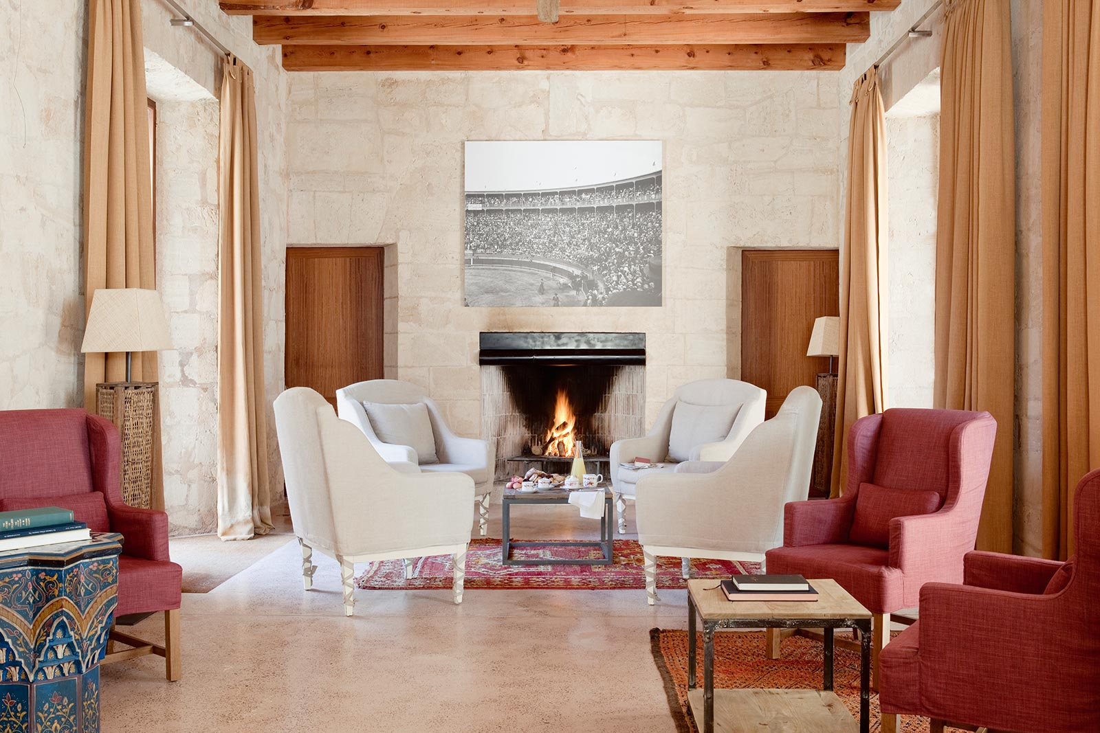 The cosy lounge for cooler months at Cap Rocat hotel - Complimentary cava with MallorcanTonic