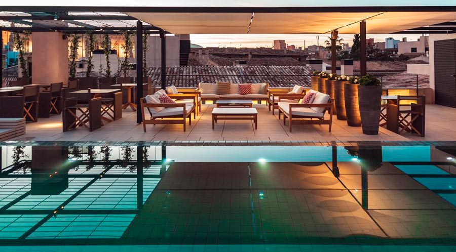 Lounge around at Sant Francesc Hotel Palma (Majorca) Rooftop pool