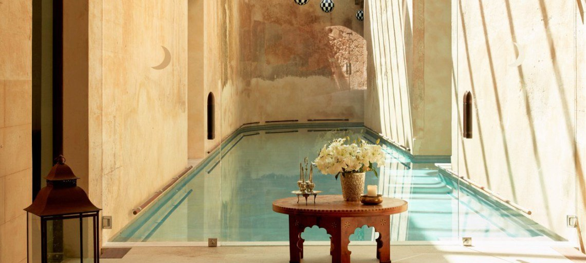 Indoor swimming pool set within walls of the old fort at Cap Rocat luxury hotel - Palma