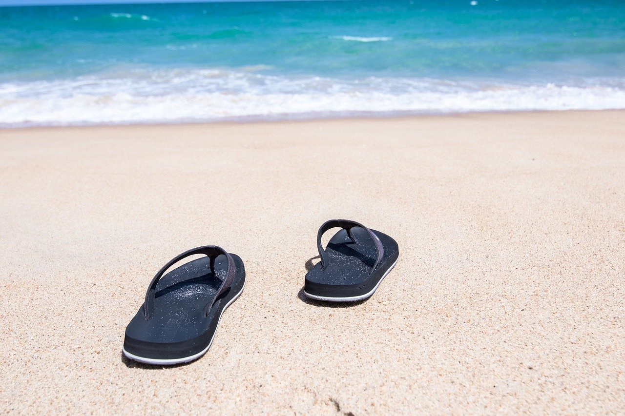 Flip Flops on sand in Mallorca in Spring