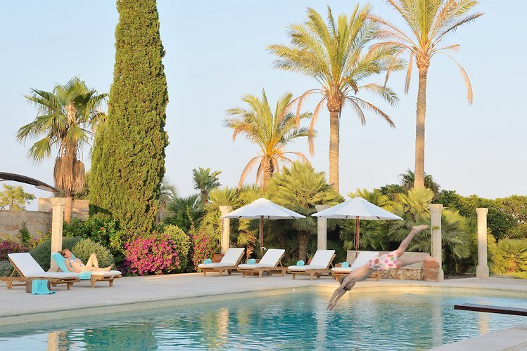 The peaceful pool area - stunning planting at Cal Reiet - Majorca