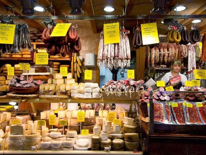 Cheese and Sausage Counter at Mercat - Olivar Walking Tours