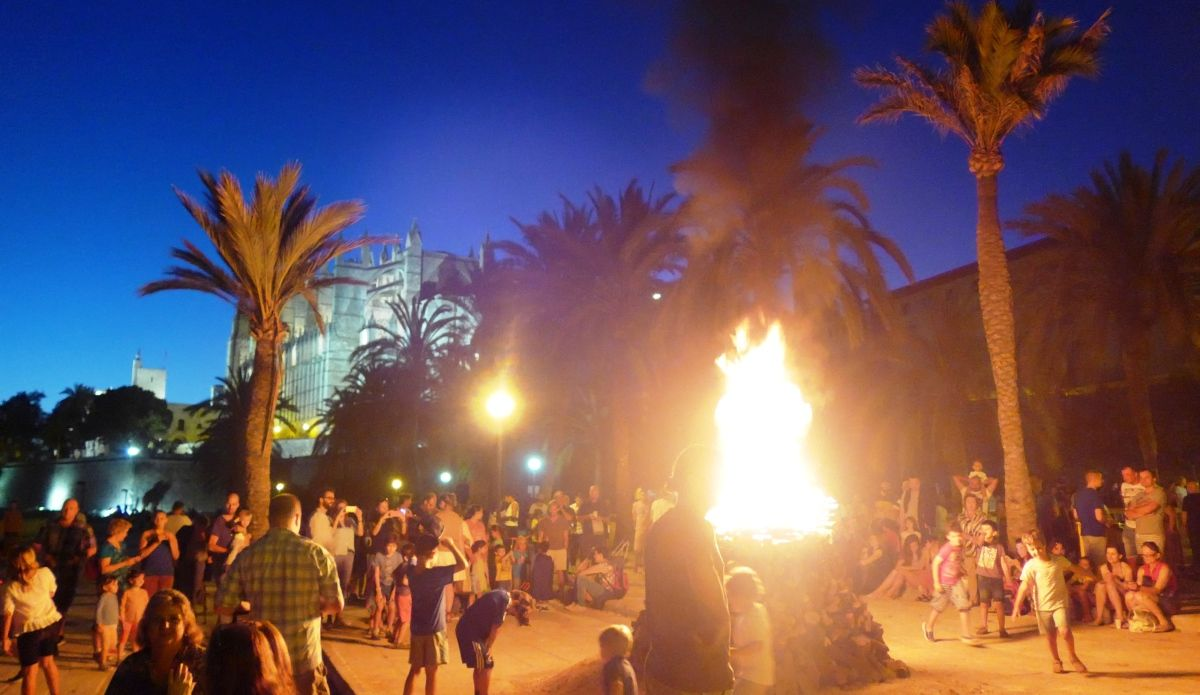 Partying on the beach on the eve of Sant Joan