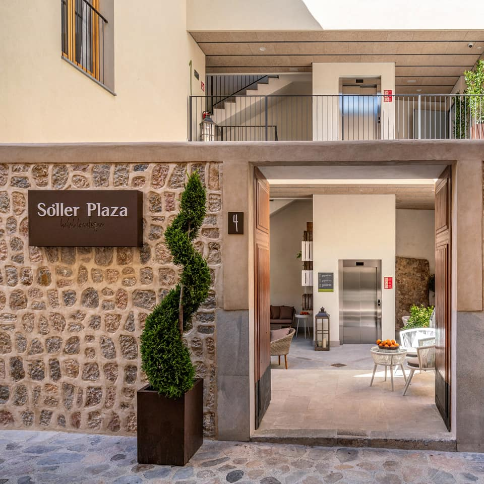 Soller Plaza doors and patio welcoming entrance