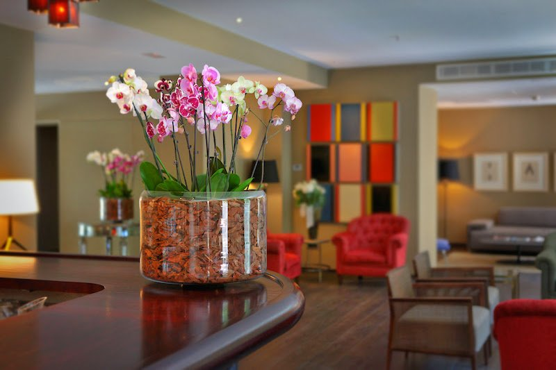 Vibrant decor in the bar and lounge area of Boutique Hotel Can Alomar