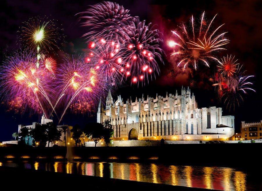 Fireworks over the cathedral fiesta de Saint Sebastian Palma